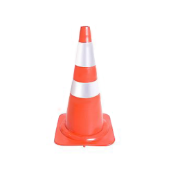 Cone de Sinalização em Borracha com 2 faixas pintadas a branco